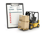 Delivery service concept. Forklift with parcel carton cardboard