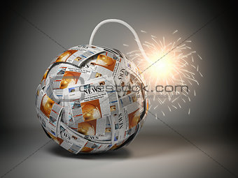 Breaking hot news concept. Bomb from newspapers with wick  and s