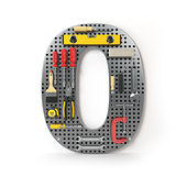 Number 0 zero. Alphabet from the tools on the metal pegboard iso