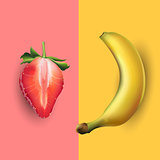 Banana and strawberry. Vector illustration