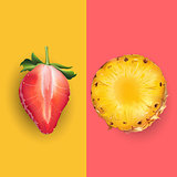 Pineapple and strawberry. Vector illustration