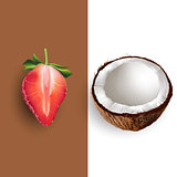 Coconut and strawberry. Vector illustration