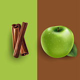 Cinnamon and green apple. Vector illustration