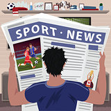 Soccer fan reading sports news