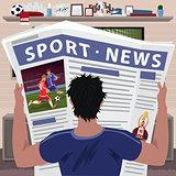 Soccer fan reading sports news