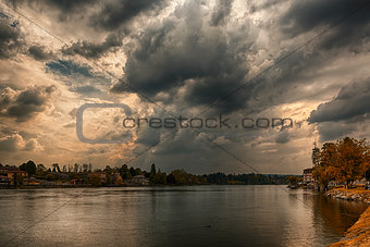 Storm clouds over the Ticino river