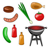 A set of icons of a barbecue. Vector illustration of grilling, s