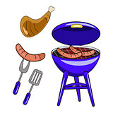 Set of vector barbecue isolated on white background. Flat design