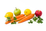 Fruits on a white background. Lemon with apples and kiwi on white background. Kiwi with lemon on a white background. Carrots with fruits on a white background.