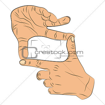 hands gesture photo vector drawing