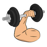 hand with barbell. body building concept vector drawing illustration