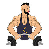 muscle man with barbell. body building concept vector drawing illustration