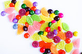 Scattered colored candy on a limited