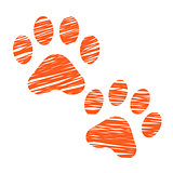 Sketched cat footprints, stylized scratched cat paws, hatched animal steps, trials and traces