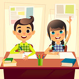 Happy children at school desk. Kids at school in class. The boy writes the assignment in the notebook. Girl two fingers up for answer. Cartoon flat students characters. Back to school concept