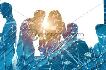 Businessmen that work together in office with network effect. Concept of teamwork and partnership. double exposure