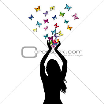 Abstract illustration of a woman silhouette with butterflies fly