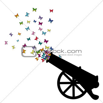 Abstract illustration with cannon silhouette and colored butterf