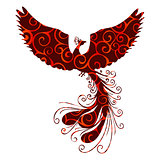 Phoenix bird pattern silhouette ancient mythology fantasy