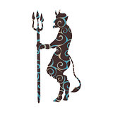Devil demon religion trident pattern silhouette ancient mytholog