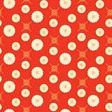 Japanese pattern red and gold floral shapes colors.