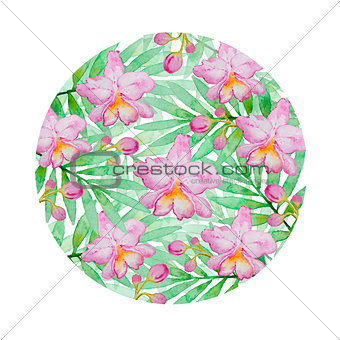 Floral background with pink watercolor orchids