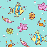 Doodle marine pattern with fish
