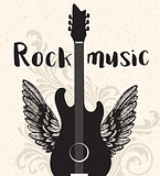 Vintage rock music poster with black guitar