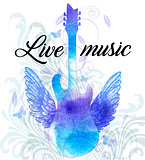 Rock music poster with blue watercolor guitar