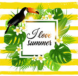 Tropical background with palm and toucan