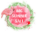 Tropical background for summer sale with flamingo