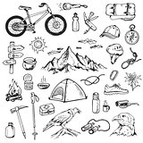 Set of mountain camping icons