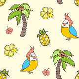 Pattern with palm tree and parrot.