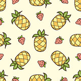 Pattern with strawberry and pineapple