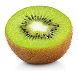 Half of kiwi fruit isolated on white
