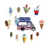 Concept on street food. Set with car and ice cream