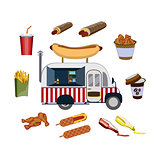 Concept on street food, hot-dogs. Set with car and fastfood