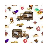 Concept on street food, coffee to go. Seamless pattern with car and sweets
