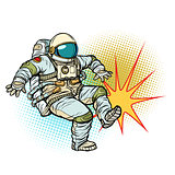Astronaut kick neutral isolated background