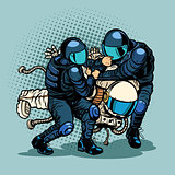 regression and progress concept, police arrested the astronaut