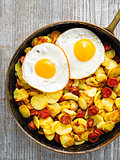 pan of rustic sausage potato hash