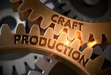 Craft Production on Golden Cog Gears. 3D Illustration.