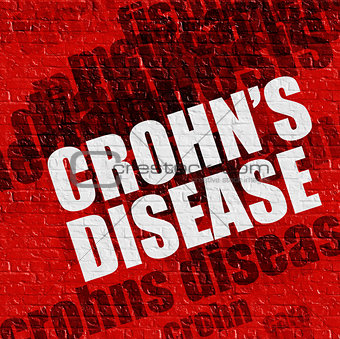 Modern medical concept: Crohns Disease on Red Brick Wall .