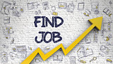 Find Job Drawn on White Brickwall.