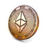 Ethereum - Cryptocurrency Coin. 3D rendering