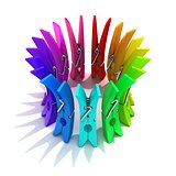 Colorful plastic clothes pegs