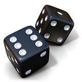 Two black game dices