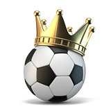 Golden crown on soccer ball 3D