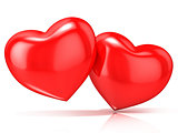 Two red hearts. 3D