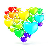 Sweet, colorful, beautiful hearts on white background, arranged